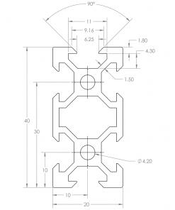 Guía lineal OpenBuilds V-Slot 20x40mm, Natytec.