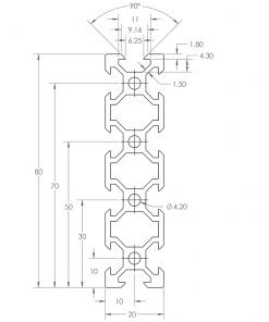 Guía lineal OpenBuilds V-Slot 20x80mm, Natytec.