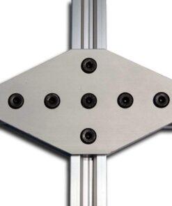 Placa unión cruz con 7 agujeros espaciamiento 20mm
