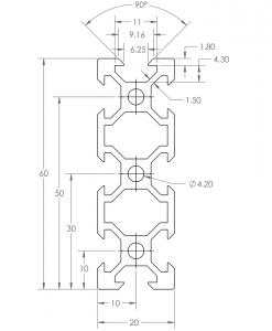 Guía lineal OpenBuilds V-Slot 20x60mm, Natytec.