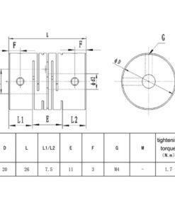Acoplamiento flexible Acme NEMA17 NEMA23, Natytec.