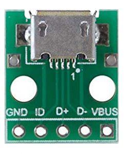 Conector MICRO USB hembra en placa PCB, NATYTEC