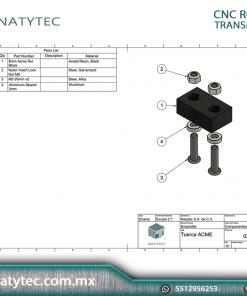 Bloque tuerca Acme 8mm Tr8x8 CNC MATERIALES