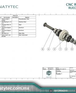Rueda solida V Xtremo Actuador Z Espaciador Materiales NATYTEC
